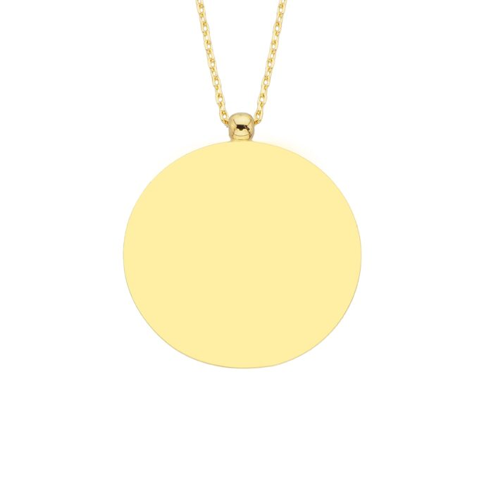 14K Solid Yellow or White Gold Personalized Custom Name Letter Initial Engraved Round Disk Chain Necklace for Women Mom   Birthday Christmas Mother's Day Gift valentine jewelry Yellow Gold.