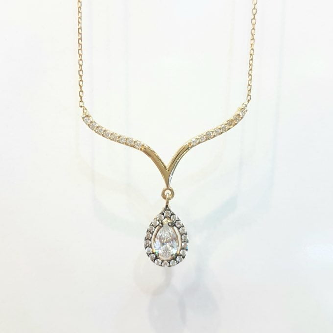14K Real Solid Yellow Gold Tear Drop Halo Cubic Zirconia Necklace Choker Pendant Jewelry for Women's Wedding Bridal