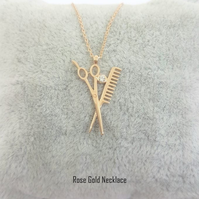 14k Real Solid Gold Scissors and Comb Charm Pendant Necklace Hair Stylist Dresser Salon Gift Fashion Barber Beauty Shop Women Jewelry