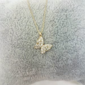14K Real Solid Gold Butterfly Shape Design with White Zirconia Stones Cute Tiny Charm Dainty Delicate Trendy Necklace best birthday gift for women jewelry yourself