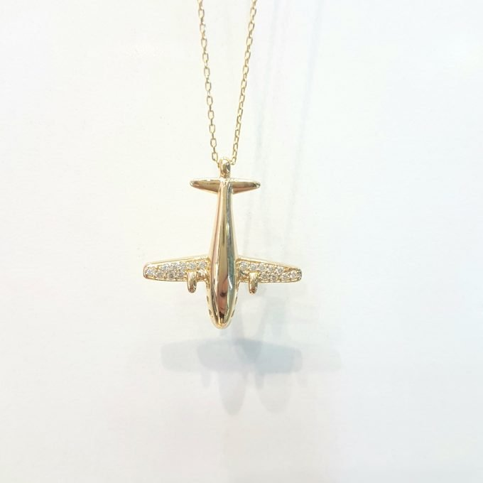 14K Gold Airplane Plane Jet Fighter Aircraft Pendant Charm Necklace for Women Travel Live Free Decorated with White Zirconia Stones