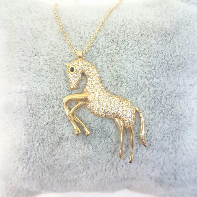 14K Gold Horse Pendant Necklace Decorated with Zirconia Stones Charm Elegant Dainty Birthday Valentine Christmas Gifts For Women Jewelry Girls