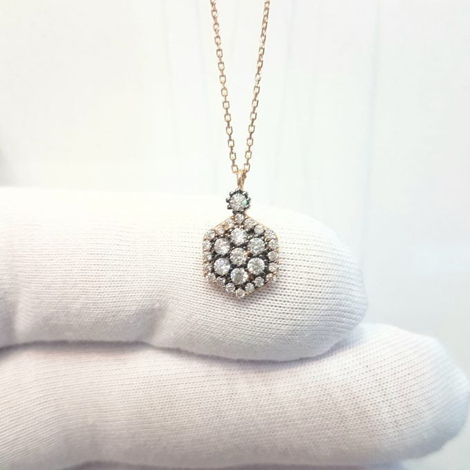 14K Real Solid Rose Gold Hexagon Model Design Decorated with White Zirconia Stones Pendant Necklace for Women Birthday Gift for Her Charm Elegant Modern Dainty