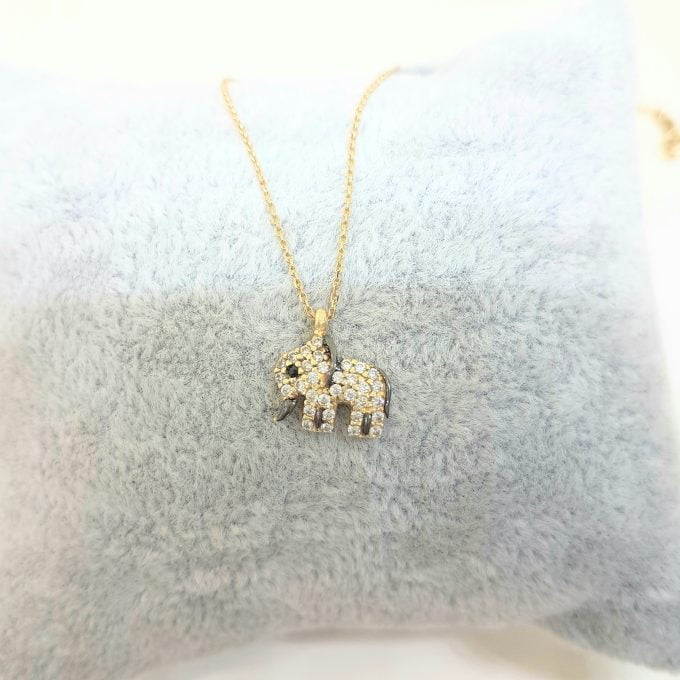 14K Real Solid Gold Elephant Pendant Necklace with White Zirconia Stones Cute Charm Dainty Best Birthday Gift for Women Good Luck