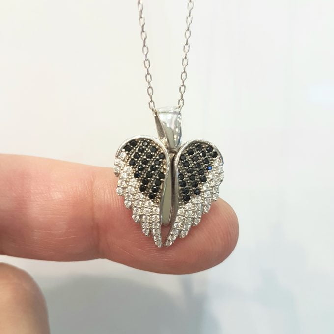 925 Sterling Silver Double Angel Wings Memorial Personalized Forever Remember Names Dates Charm Pendant Necklace Best Birthday Christmas Anniversary Graduation Gift for Women with Rose Plated Option