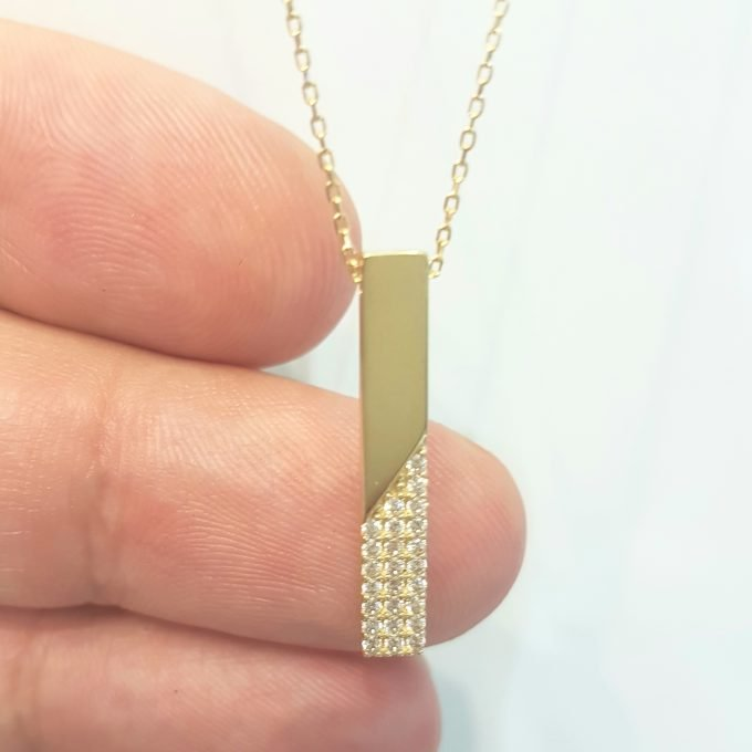14K Real Gold Vertical Coordinate Bar Design with Diomand Cut Zirconia Stones Dainty Charm Elegant Cute Trendy Pendant Necklace Best Birthday Gift for Women Jewelry girl friend mother mom grandma