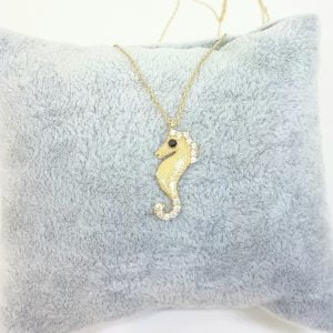 SeaHorse Necklace 14K Real Solid Gold with White Black Zirconia Stones and Textured Body Charm Cute Dainty Delicate Trendy Ocean Pendant for Women