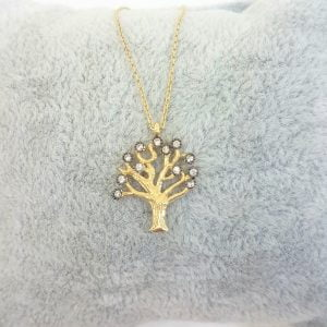 Family Tree of Life Necklace 14K Real Solid Gold with White Zirconia Stones Charm Dainty Delicate Trendy Cute Jewelry best gift for women yourself grandma birthda