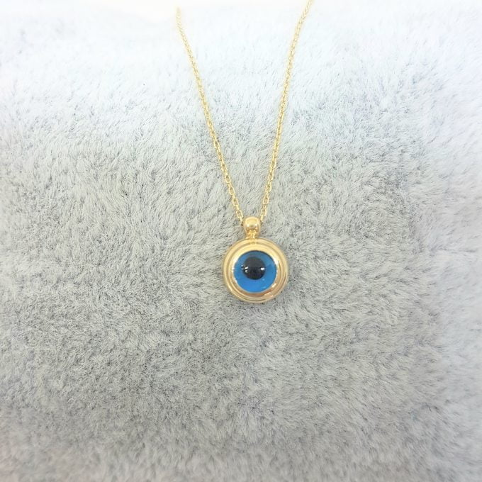 14K Real Solid Gold Lucky Evil Eye Cute Charm Dainty Delicate Turkish Faith Nazar Protection Pendant Necklace for Women