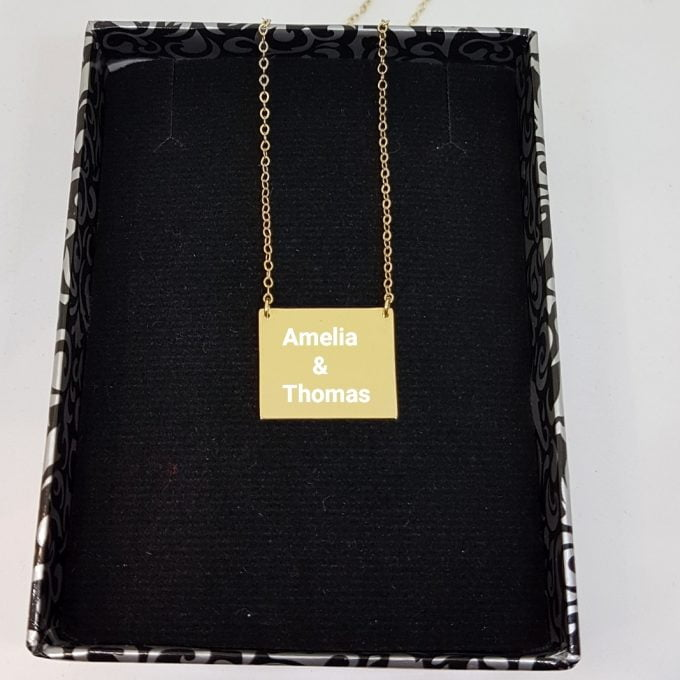 14K Gold Rectangle Plate Engravable Customize Memorial Personalized Forever Remember Name Date Text Charm Delicate Initial Trendy Pendant Necklace Best Birthday Anniversary Gift for Women