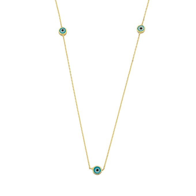 Evil Eye Trio Pendant Necklace Lucky Turkey Nazar Protection For Women Handmade Jewelry 14K Yellow Gold Charm Elegant Dainty Navy Blue Or Turquoise