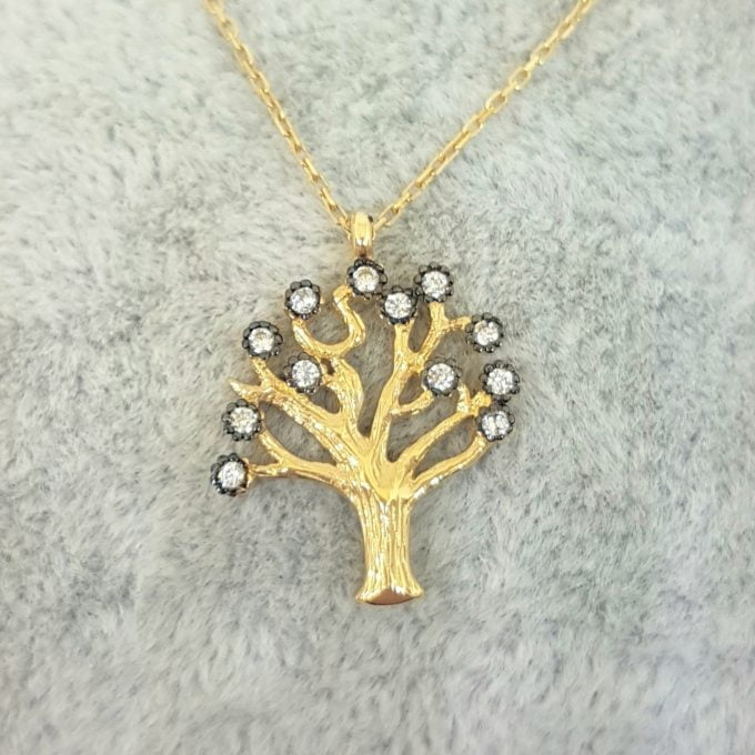 Family Tree of Life Necklace 14K Real Solid Gold with White Zirconia Stones Charm Dainty Delicate Trendy Cute Jewelry best gift for women