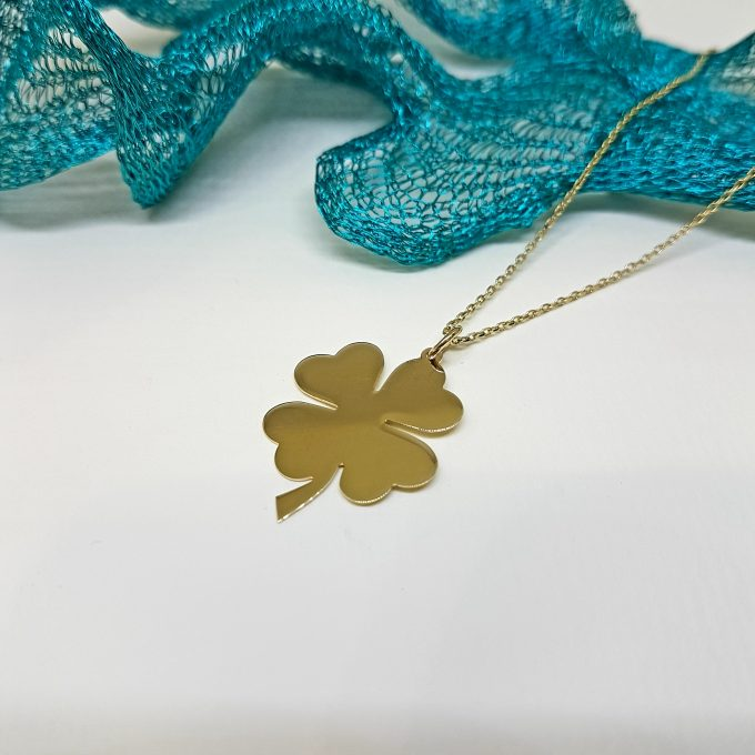 14K Real Solid Gold Elegant Four Leaf Clover Charm Dainty Trendy Pendant Necklace for Good Luck Best Birthday Gift for Lucky Women