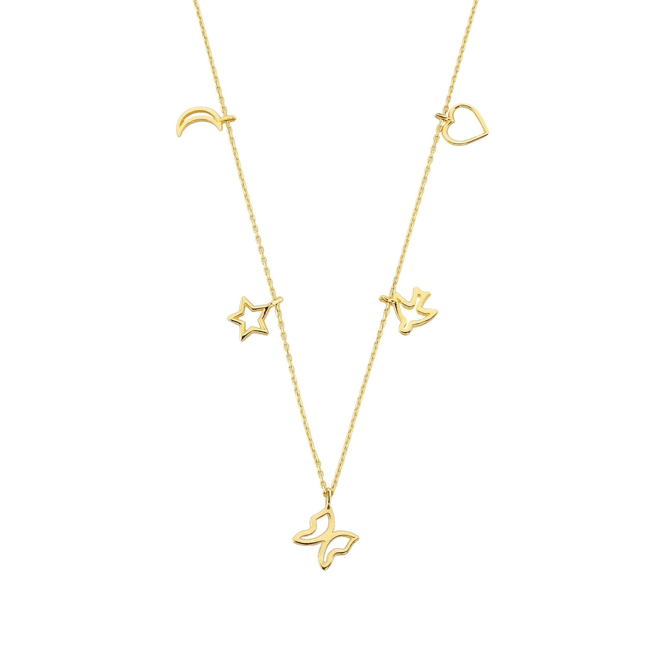 Good Luck Lucky Charm Pendant Necklace for Women 14K Real Solid Gold with Butterfly Star Moon Heart Swallow Pieces Birthday Christmas Mother's Day Gift Jewelry