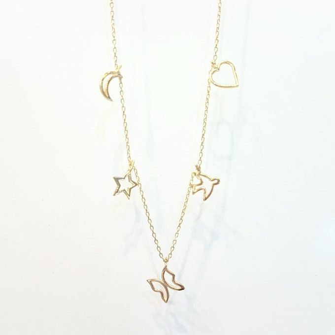 Good Luck Lucky Charm Pendant Necklace for Women 14K Real Solid Gold with Butterfly Star Moon Heart Swallow Pieces