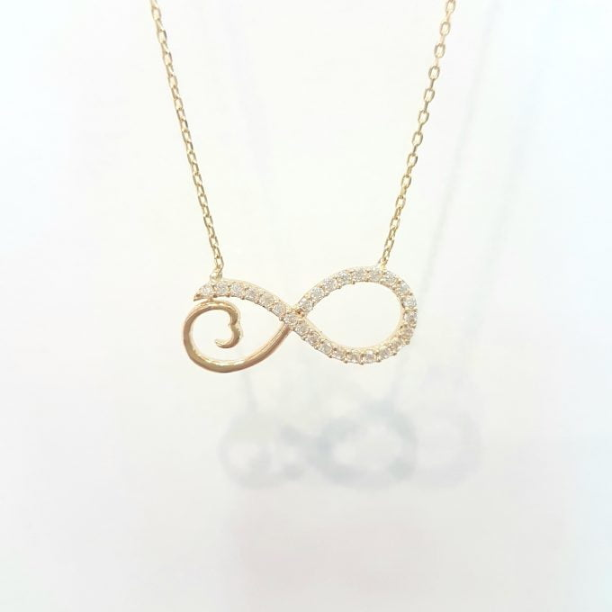 14K Real Solid Gold Infinity Forever Design with White Stones Love Charm Elegant Dainty Delicate Trendy Cute Pendant Necklace best birthday gift Women Jewelry girlfriend