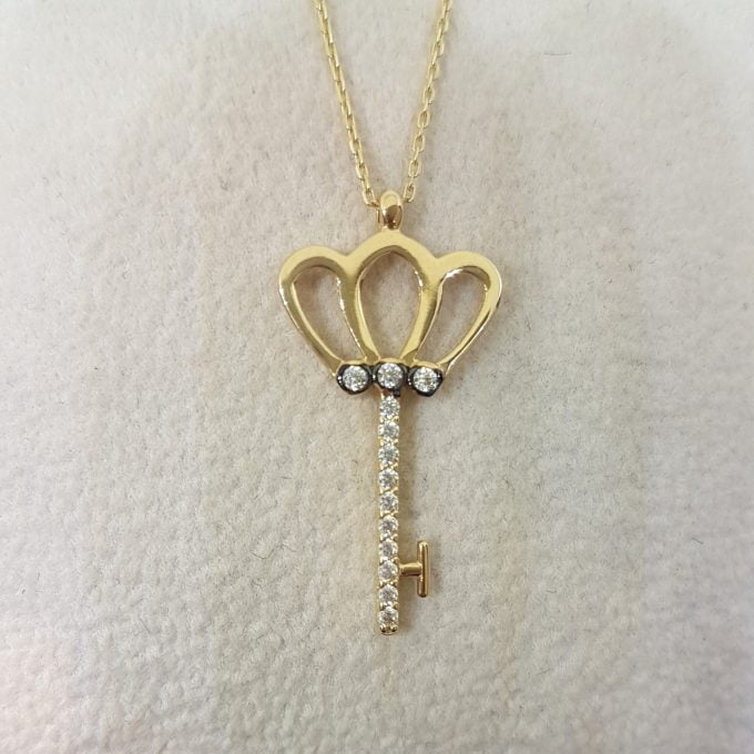 14K Real Solid Gold Key Design with Zirconia Stones Cute Charm Elegant Dainty Delicate Pendant Necklace best birthday gift for Women Jewelry girlfriend Unlock My Heart