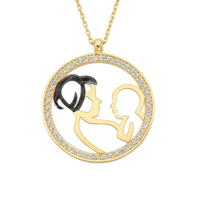 14K Solid Gold Mother and Child Pendant Necklace Jewelry Gifts for Grandmother Mom Daughter Wife | Best Birthday Mother's Day Christmas Gift