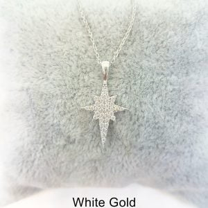 14K Real Solid Gold North Star Pendant Necklace with White Zirconia Stones Cute Charm Dainty Delicate Trendy Elegant Best Birthday Christmas Gift for Women Wife Her Grandma Girls