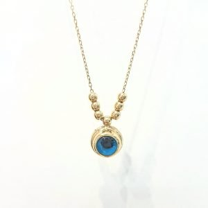 14K Real Solid Gold Lucky Evil Eye with Three Balls Blue Eyes Tiny Charm Pendant Necklace for Women Turkish Evil Eye Faith Protection Nazar