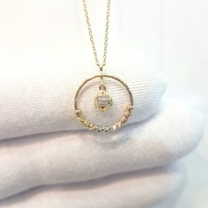 14K Gold Circle Ring With Itallian Balls and Swinging Cubic Zirconia Stone Pendant Necklace for Women Turkish Handmade Jewelry