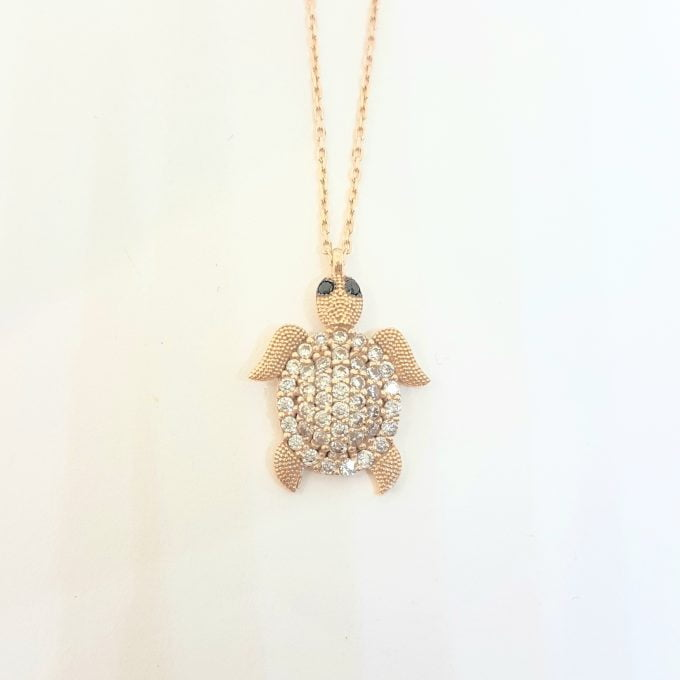 Sea Turtle Animal for Good Luck 14K Real Solid Gold with White Zirconia Stones Textured Legs Head Pendant Necklace