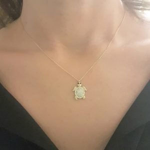 Sea Turtle Animal for Good Luck 14K Real Solid Gold with White Zirconia Stones Textured Legs Head Charm Dainty Delicate Trendy Cute Pendant Necklace Best Gift for Women jewelry Birthday