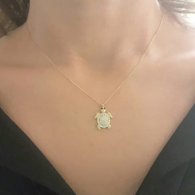 14K Real Solid Gold Sea Turtle Necklace for Women | Good Luck Ocean Animal Fish Life Fine Jewelry Gold Pendant | Turtles Gifts