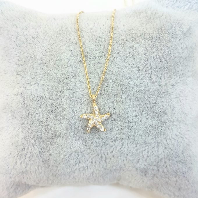 14K Gold Real Solid Starfish Sea Star Design Charm Dainty Delicate Trendy Tiny Pendant Necklace best birthday gift Women Jewelry girlfriend Beach Ocean Necklace