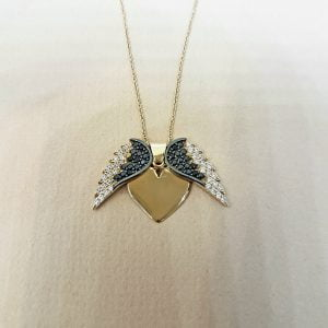 14K Real Solid Gold Elegant Double Angel Wings and Heart Shape Memorial Personalized Forever Remember Names Dates Charm Pendant Necklace Best Birthday Gift for Women