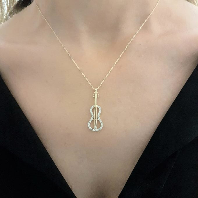 Violin Bass Guitar Charm Pendant Necklace 14K Real Gold Decorated with White Zirconia Stones Dainty Elegant for Women