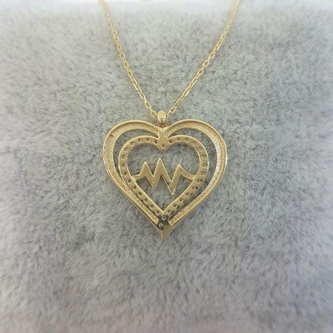 14K Gold Double Heart Love Lifeline Pulse EKG Heartbeat Pendant Necklace Decorated with Zirconia Stones Charm Elegant Dainty Birthday Valentine Christmas Gift For Women Jewelry