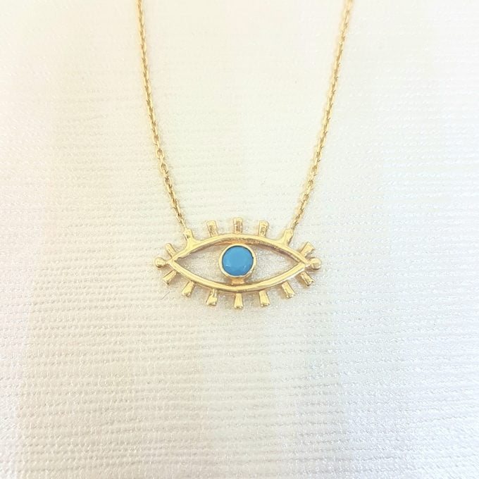 14K Real Solid Yellow Gold Turquoise Evil Eye Pendant Necklace Charm Elegant Dainty Birthday Valentine Christmas Gifts For Women Handmade Jewelry