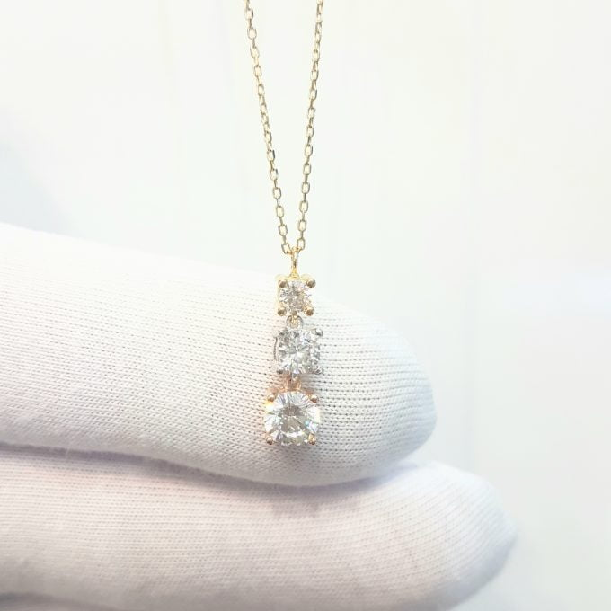 Solitaire Trio Layered Pendant Necklace with Cubic Zirconia Round Cut 14K Yellow White Rose Gold Charm Dainty Handmade for Women Jewelry
