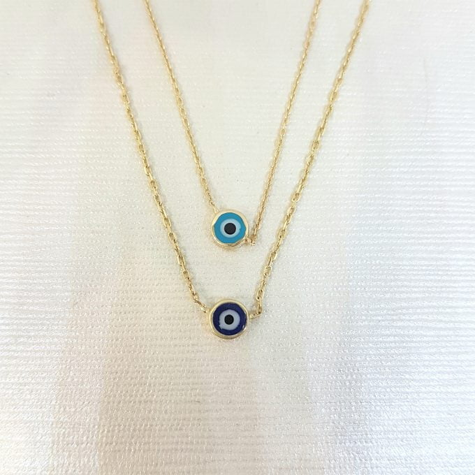 Evil Eye Single Pendant Necklace Lucky Turkey Nazar Protection For Women Jewelry 14K Yellow Gold Charm Dainty Navy Blue or Turquoise