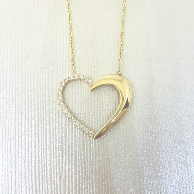 14K Real Solid Gold Forever Love Heart Pendant Necklace Half Decorated with Diamond Cut Zirconia Stones Charm Elegant Dainty Birthday Valentine Christmas Gift Women Jewelry