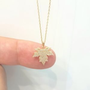 14K Real Solid Gold Long Leaf Pendant Necklace with White Zirconia Stones Cute Charm Dainty Delicate Trendy Elegant Birthday Gift for her women jewelry wife grandma girl Autumn Maple