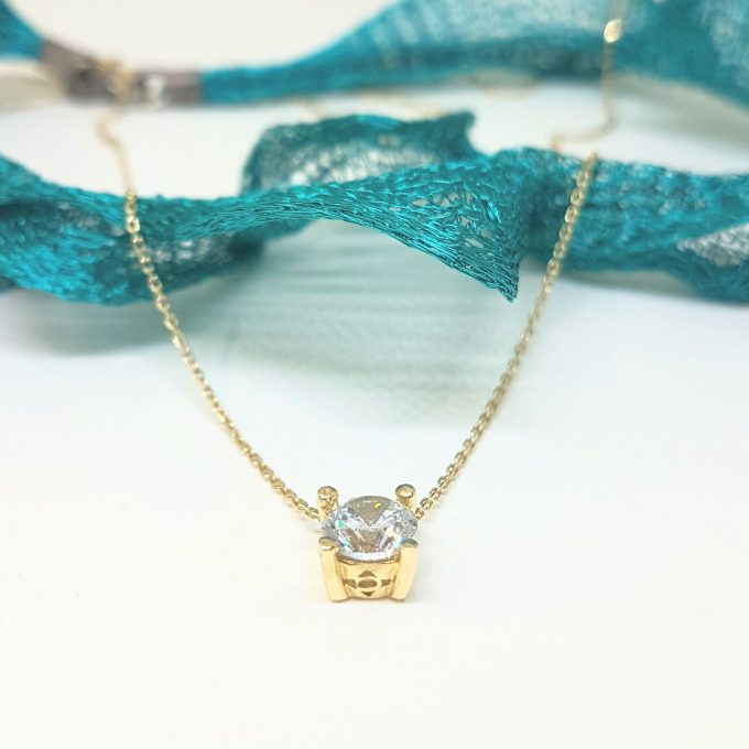 Solitaire Pendant Necklace 14K Real Solid Yellow Gold with Cubic Zirconia Round Cut Charm Dainty Handmade for Women Jewelry