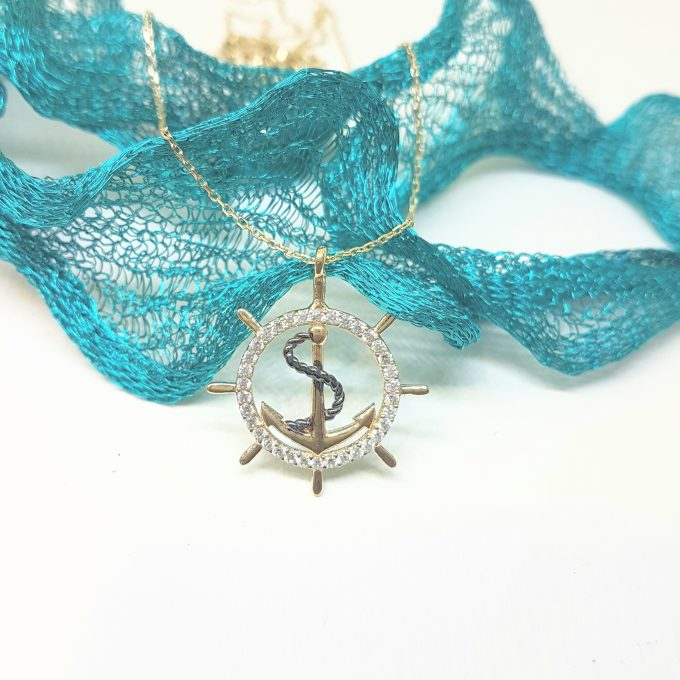 14K Gold Anchor Pendant Necklace for Women With Zirconia Stones Charm Jewelry Ship Wheel Nautical Rope Navy Sailor