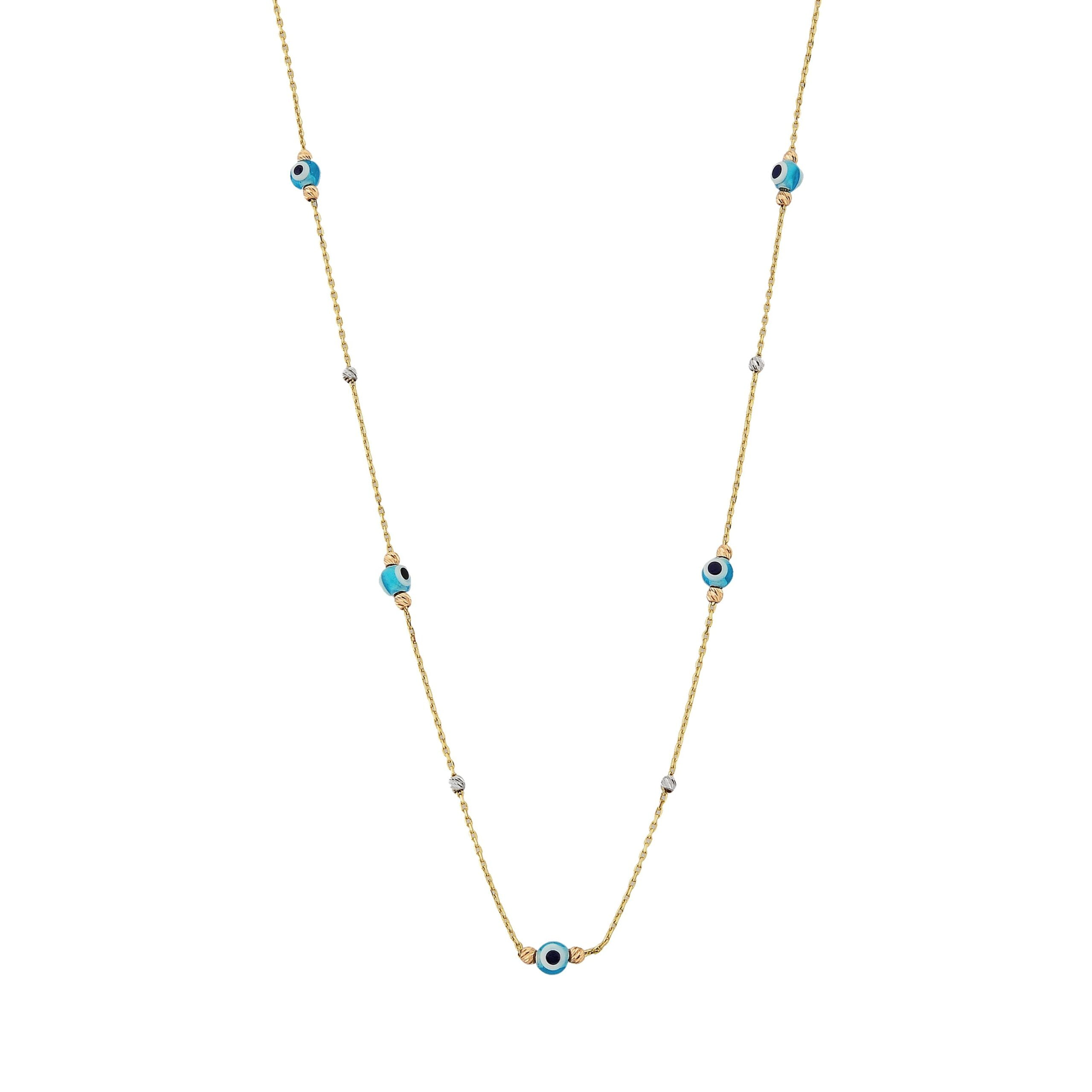 14K Real Solid Gold Lucky Blue Evil Eye and Italian Balls Design Dainty Charm Pendant Necklace for Women Turkish Nazar Christmas Birthday Mother's Day Gift.