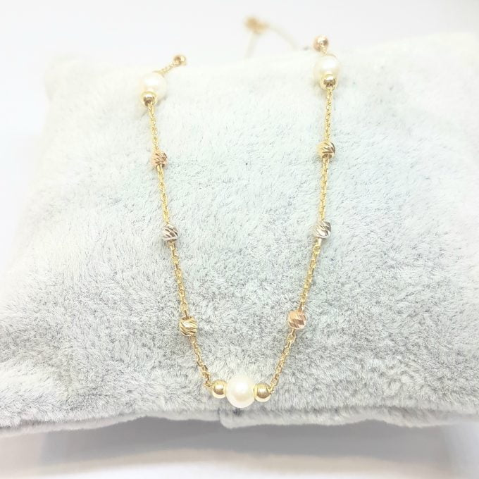 14K Real Solid Gold Necklace Beaded Pearls and Italian Balls Design for Women