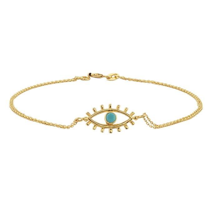 14K Real Solid Gold Turquoise Evil Eye Bracelet For Women Evil eye nazar protection good luck charms handmade jewelry birthday gift christmas girl her girlfriend