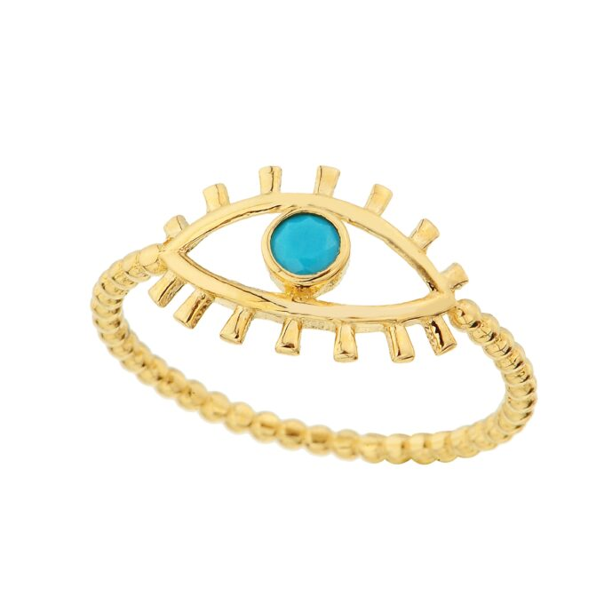 14K Real Solid Gold Turquoise Evil Eye Ring For Women | December Birthstone Ring jewelry birthday gift mother's day christmas xmas