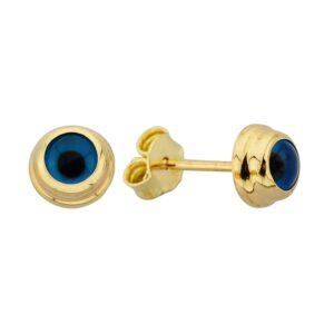 14K Real Solid Gold Evil Eye Stud Earrings for Women , Dainty Blue Turkish Eye birthday gift christmas mother her minimalist nazar protection hamsa minimalist jewelry handmade
