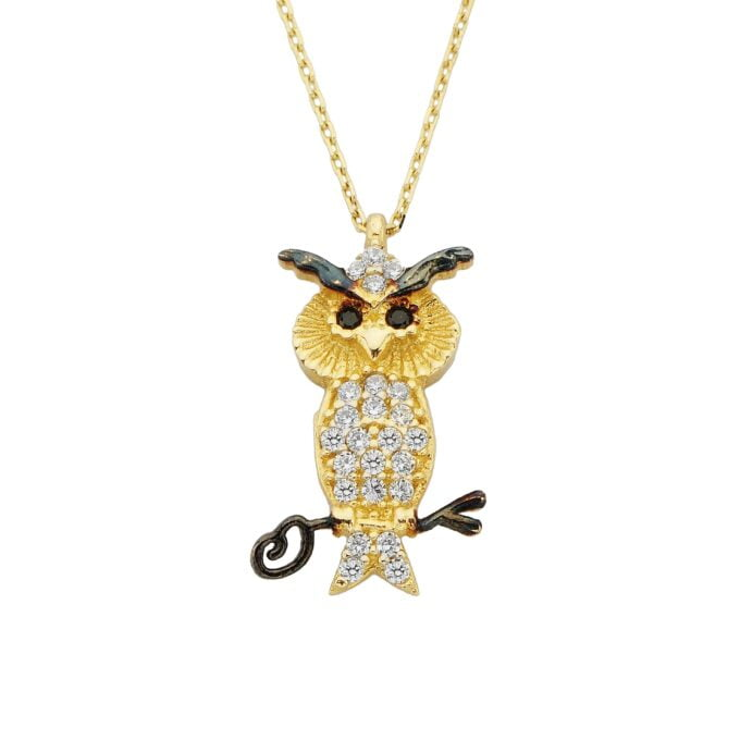 14K Real Solid Gold Owl Pendant Necklace Decorated with Cubic Zirconia Stones for Women Charm Dainty Birthday Christmas Mother's Day Gift Animal jewelry