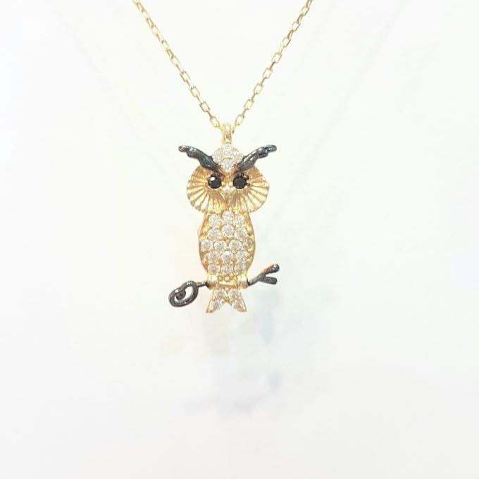 14K Real Solid Gold Owl Pendant Necklace Decorated with White Zirconia Stones for Women Charm Dainty