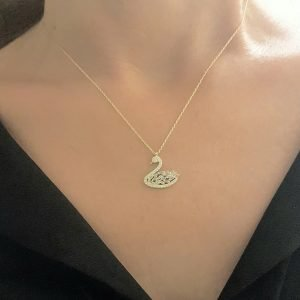 14K Real Solid Gold Swan Design with Baguette and Cubic Zirconia Stones Dainty Charm Pendant Necklace for Women