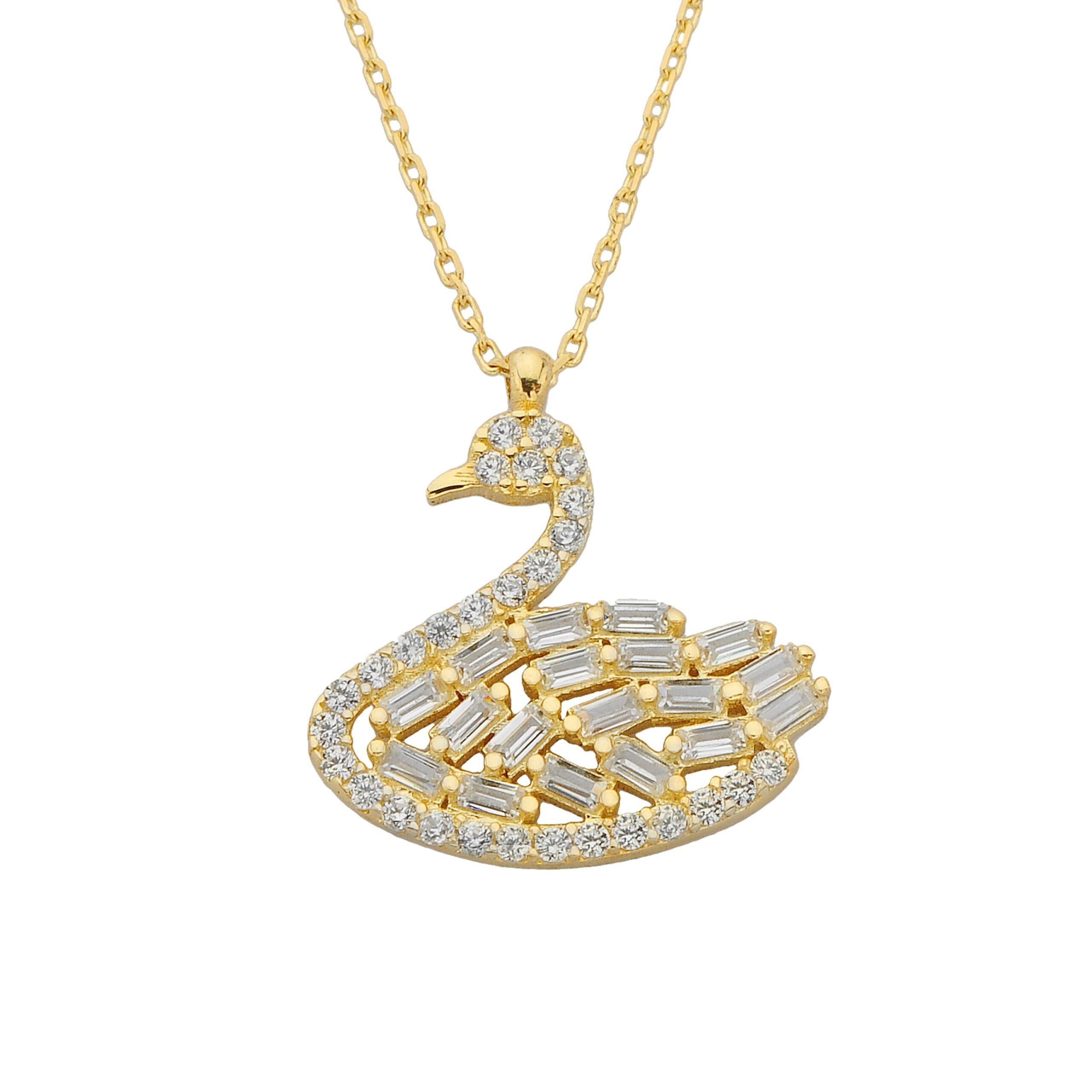 14K Real Solid Gold Swan Necklace Baguette and Cubic Zirconia Stones Dainty Charm Pendant for Women Birthday Mother's Day Christmas Gift Animal Jewelry