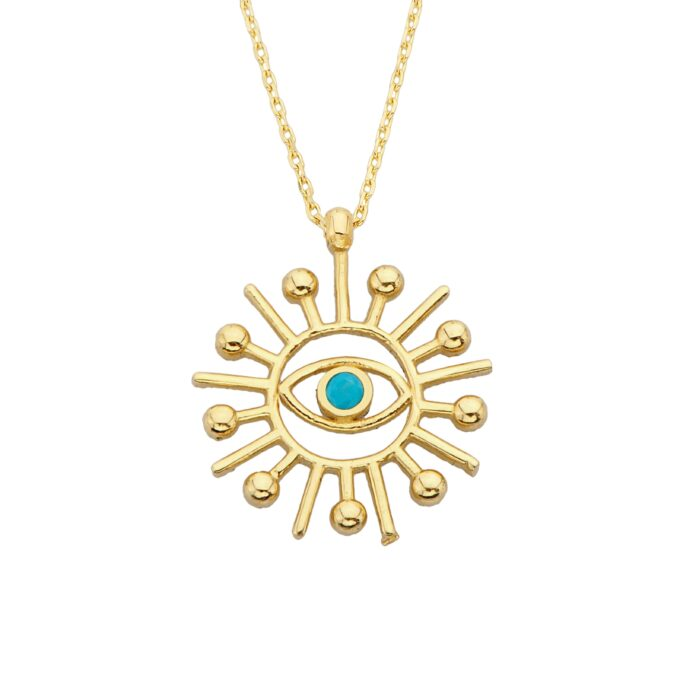 14K Real Solid Gold Turquoise Evil Eye Sun Pendant Necklace for Women Birthday Christmas Mother's Day Gift Jewelry dainty Zodiac