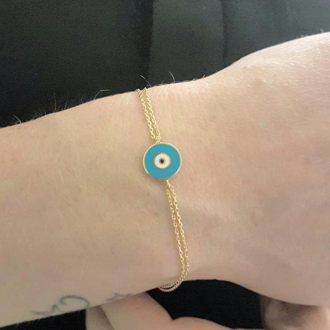 14K Solid Evil Eye Bracelet Evil Eye Bracelet Evil Eye Charm Bracelet , Evil Eye Jewelry Dainty Evil Eye Good Luck